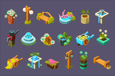 Video Game Garden Design Collection Of Elements Illustration
