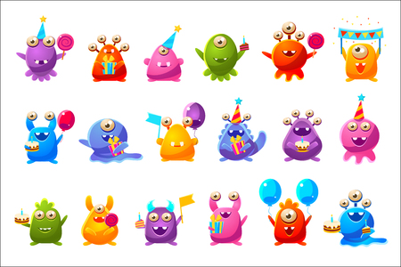 Fantastic Monsters With Birthday Party Objects Cute Childish Stickers. Cartoon Colorful Alien Characters Isolated On Background.