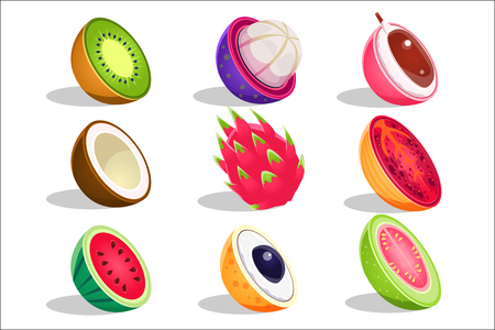 Tropical Fruits Sliced In Half Set Of Bright Icons Illustration