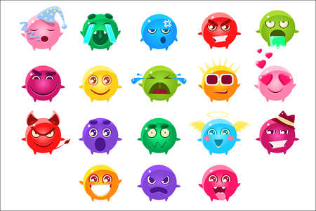 Spherical Characters Of Different Colors Emoji Set