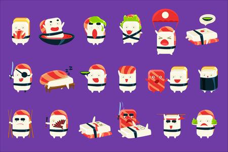Humanized Sushi Character Japan Themed Activities Set Illustration