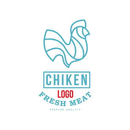 Chicken  fresh meat premium quality, badge design for farm natural organic products food, packaging, shop, restaurant, grill, BBQ vector Illustration