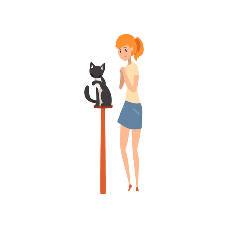 Young woman presenting her black purebred cat to jury at cat breeds show cartoon vector Illustrations on a white background Çizim