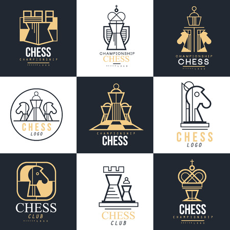 Chess   set, design element for championship, tournament, chess club, business card, black and white vector Illustration