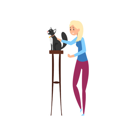 Young woman presenting her black cat to jury at cat breeds show cartoon vector Illustrations on a white background