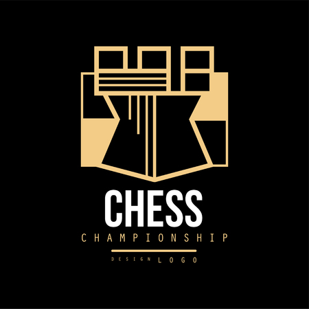 Chess championship   design, emblem with Tower chess vector Illustration