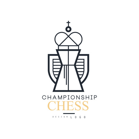 Chess championship  design, black and white emblem with King chess vector Illustration Illustration