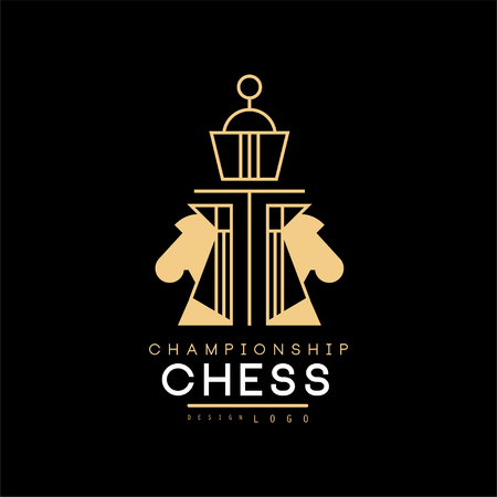 Chess championship  design element for tournament, sports club, business card vector Illustration 스톡 콘텐츠 - 102993279