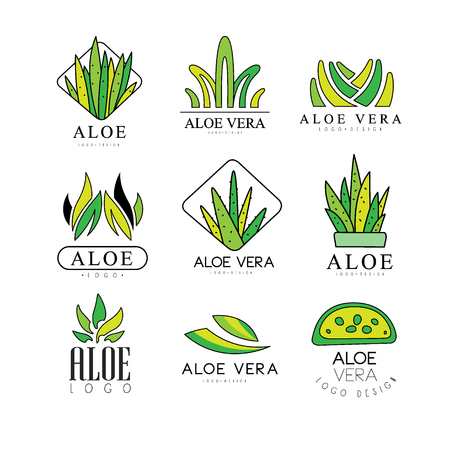 Aloe Vera design set, natural product green badges, organic cosmetics, health care and beauty label vector Illustrations on a white background