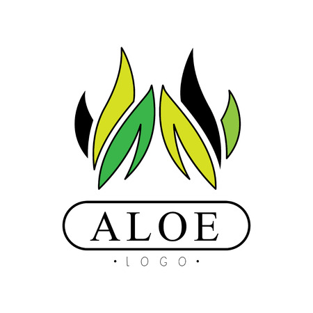 Aloe, natural product badge, beauty and cosmetics green label vector Illustration on a white background