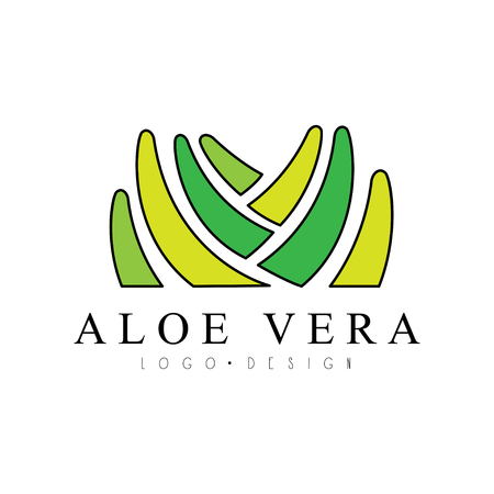 Aloe Vera design, natural product badge, organic cosmetics and health care label vector Illustration on a white background
