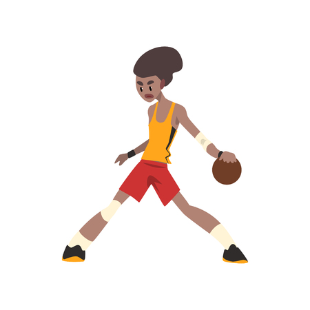 African american basketball player, athlete in uniform playing with ball vector Illustration on a white background