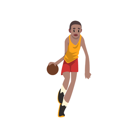 Basketball player moving dribble, athlete in uniform playing with ball vector Illustration on a white background