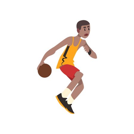 Basketball player, athlete in uniform with ball vector Illustration on a white background