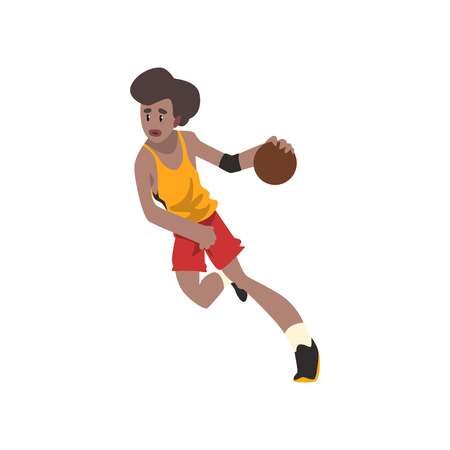 Basketball player, athlete in uniform running with ball vector Illustration on a white background