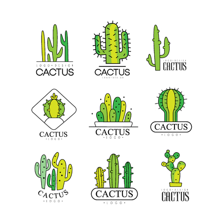 Cactus design set, desert plant green badges vector Illustrations on a white background