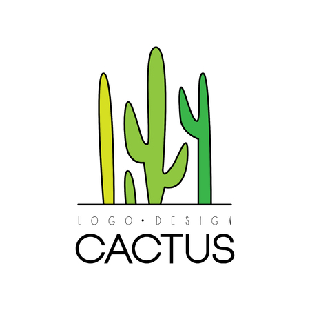 Cactus creative design, desert plant green badge vector Illustration on a white background Illustration