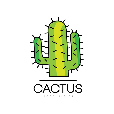 Cactus design, desert prickly plant green badge vector Illustration on a white background