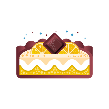 Piece of layered delicious lemon cake with chocolate vector Illustration on a white background 일러스트