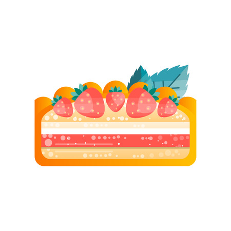 Piece of layered delicious  cake with strawberries on top vector Illustration isolated on a white background