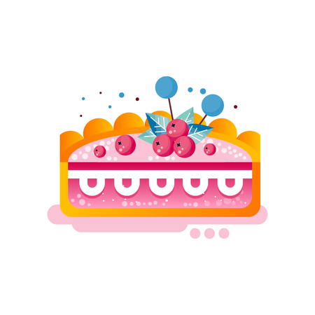 Piece of layered delicious cake with cranberries on top vector Illustration on a white background