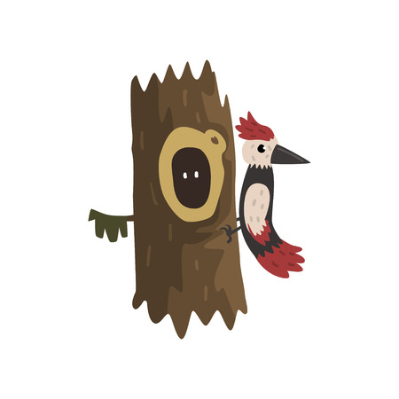 Woodpecker on a hollow tree, hollowed out old tree and cute animal cartoon character inside vector Illustration on a white background