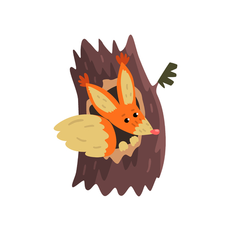 Cute squirrel sitting in hollow of tree, hollowed out old tree and cute animal cartoon character inside vector Illustration on a white background Illustration