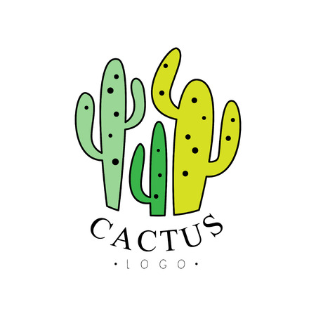 Cactus, desert plants badge vector Illustration on a white background