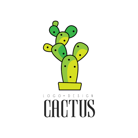 Cactus design, creative emblem with potted plant vector Illustration on a white background Illustration