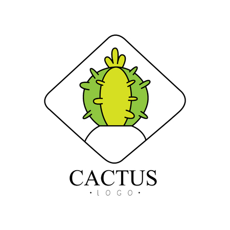 Cactus design, creative badge with desert plant vector Illustration on a white background