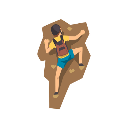 Climber in protective helmet climbing rock mountain, extreme sport and leisure activity concept vector Illustration on a white background