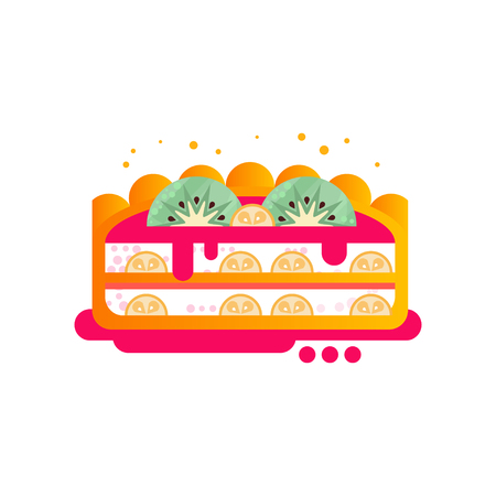 Piece of layered delicious cake with fruit and kiwi on top vector Illustration on a white background 일러스트