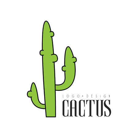 Cactus design, desert plant emblem vector Illustration on a white background Illustration