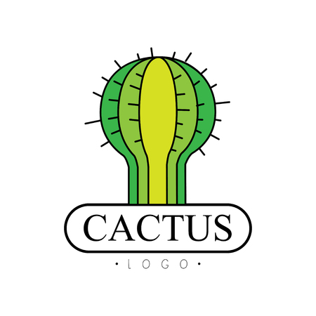 Cactus, desert plant green badge vector Illustration on a white background