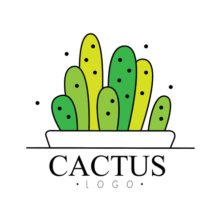 Cactus design, green badge with plants vector Illustration on a white background Illustration