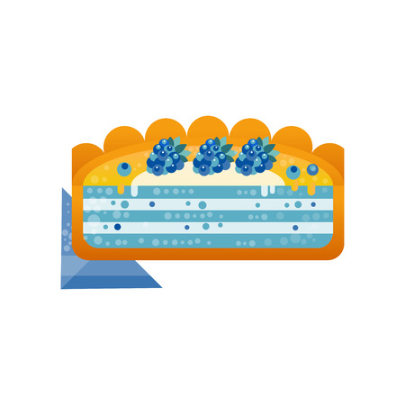 Piece of layered delicious cake with blackberries on top vector Illustration on a white background Illustration