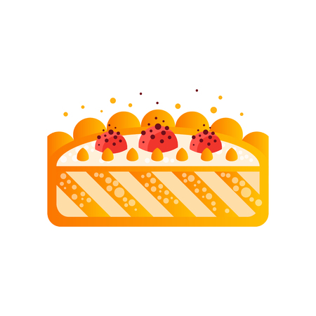 Piece of delicious cake vector Illustration on a white background Illustration