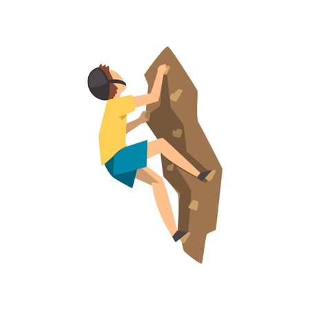 Male climber in protective helmet climbing rock mountain, extreme sport and leisure activity concept vector Illustration on a white background