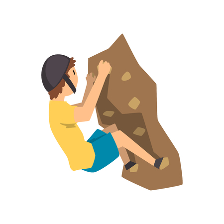 Young climber in protective helmet climbing rock mountain, extreme sport and leisure activity concept vector Illustration on a white background