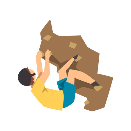Male climber climbing rock mountain, mountaineering, extreme sport and leisure activity concept vector Illustration on a white background