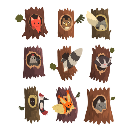 Cute animals and birds sitting in hollow of tree set, hollowed out old tree and fox, owl, wolf, raccoon, woodpecker and squirrel inside cartoon vector Illustrations on a white background Stock Illustratie