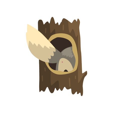 Tail of wolf sticking out of hollow tree, hollowed out old tree and cute animal cartoon character inside vector Illustration on a white background Illustration