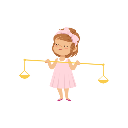 Cute little girl in pink dress holding golden scales of justice vector Illustration on a white background