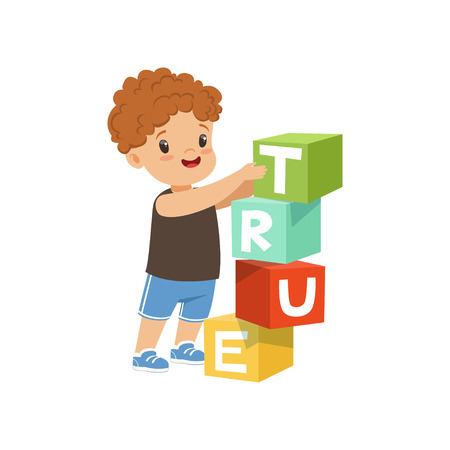 Cute boy stacking up cube tower forming a True word vector Illustration on a white background
