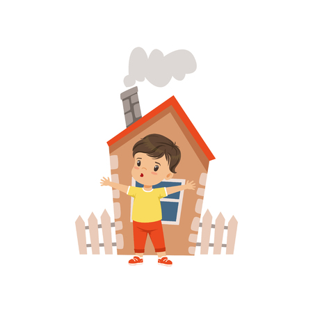 Brave little boy defending his home vector Illustration on a white background
