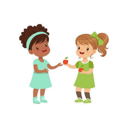Lief meisje een appel geven aan een ander meisje, kinderen delen fruit vector illustratie op een witte achtergrond
