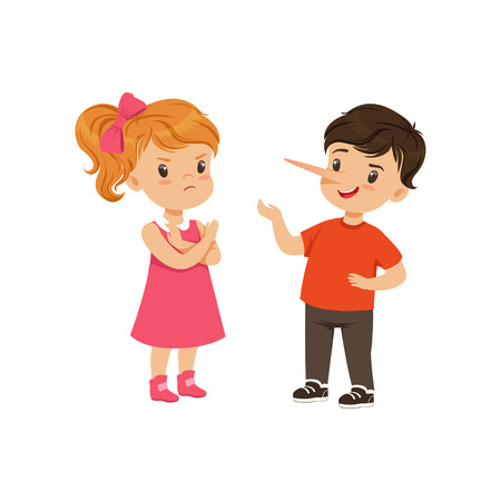 Boy with long nose lying to girl with crossed arms vector Illustration on a white background Çizim