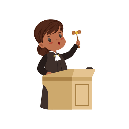 Cute judge girl cartoon character standing at tribunal with gavel vector Illustration on a white background Stock Illustratie