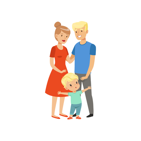 Brave little boy defending his parents vector Illustration on a white background 向量圖像