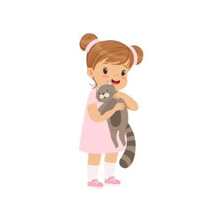 Cute little girl holding gray cat in her hands, kid caring for her pet vector Illustration on a white background